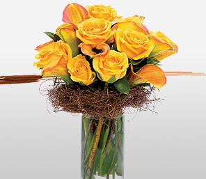 La Mystique-Orange,Rose,Arrangement,Bouquet