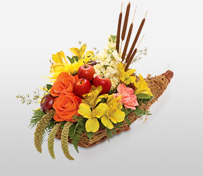 Harvest Cornucopia-Orange,Peach,Yellow,Fruit,Mixed Flower,Arrangement,Basket