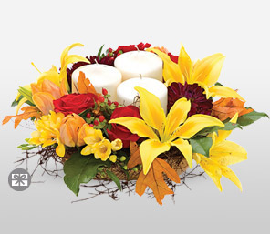 Fall Frolic Centerpiece-Red,Yellow,Candle,Mixed Flower,Arrangement