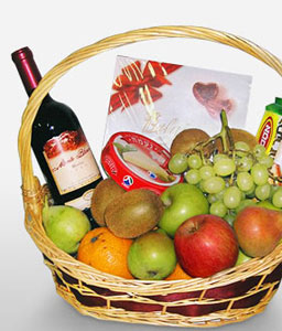 Gourmet Indulgence-Fruit,Chocolate,Wine,Basket,Hamper
