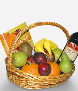 Regal Delicacy-Chocolate,Fruit,Wine,Basket,Hamper
