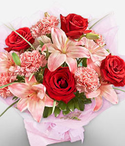 Striking Bouquet-Pink,Red,Carnation,Lily,Rose,Bouquet