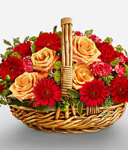 Basket Full Of Warmth-Peach,Red,Gerbera,Rose,Arrangement
