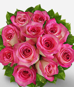 Royal Beauty-Green,Pink,Rose,Bouquet