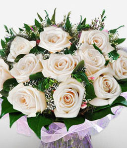 Elegant Sparkle-Green,White,Rose,Bouquet