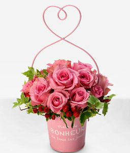 Momoiro Love <Br><Font Color=Red>Dozen Pink Roses in Basket - Sale $45 Off</Font>