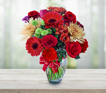 Valentines Flowers <Br><Font Color=Red>Mixed Flower Bouquet - Sale 30% Off</Font>