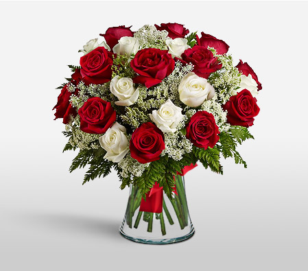 Serendipity-Red,White,Rose,Arrangement,Bouquet