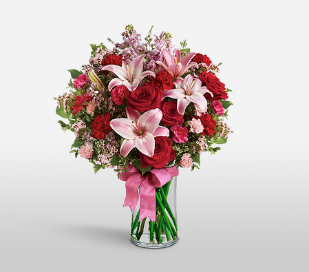 Starlit Scarlet-Mixed,Pink,Red,Lily,Rose,Bouquet