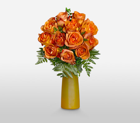 Gold Crush <Br>12 Coffee Break Roses <Br><Font Color=Red>Free Frosted Vase </Font>