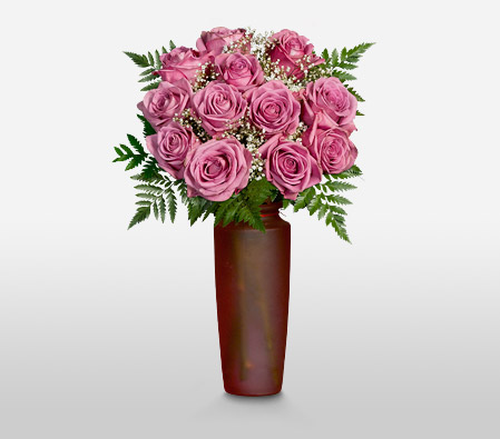 Nymph <Br>12 Coolwater Lavender Roses <Br><Font Color=Red>Free Frosted Vase </Font>