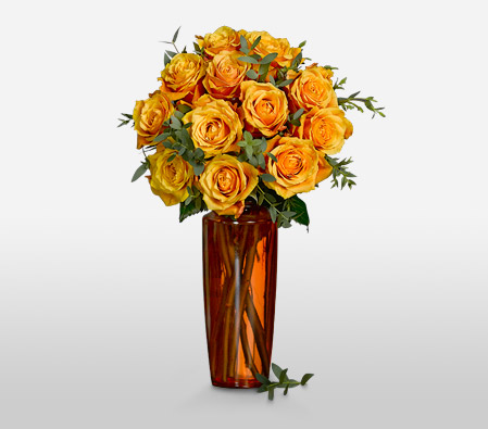 Aureola - 12 Cherry Brandy Roses <Font Color=Red>Complimentary Tall Orange Vase </Font>