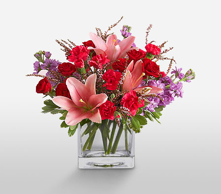 Delightful Roses And Carnations <Br><Font Color=Red>Complimentary Vase</Font>