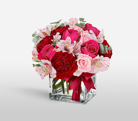 Encantador Flores-Mixed,Pink,Red,Alstroemeria,Carnation,Mixed Flower,Rose,Arrangement