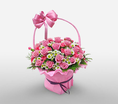 2 Dozen Pink Roses In Basket