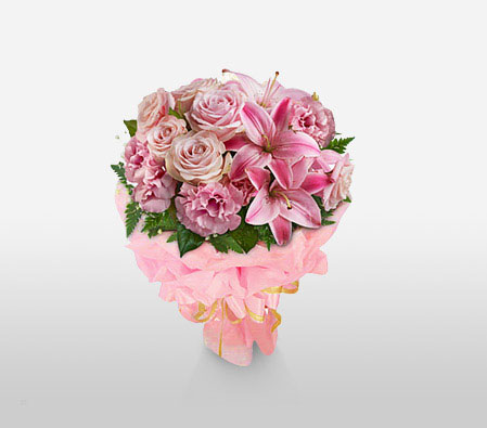 Mothers Day Arrangement-Pink,Carnation,Lily,Rose,Bouquet