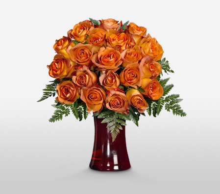 Gold Charm <Br>18 Coffee Break Roses <Br><Font Color=Red>Free Coloured Vase </Font>