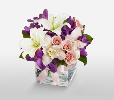 Blooming Elegance <Br><Font Color=Red>Assortment of Mixed Flowers - Free Cube</Font>