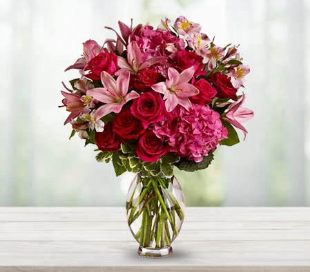 Cerise Medley <Br><Font Color=Red>Pink Flowers Arrangement - Sale $40 Off</Font>