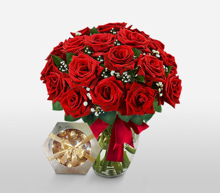 Ruby Blanc - 18 Red Roses <Br><Font Color=Red>Free Chocolates + Sale $10 </Font>