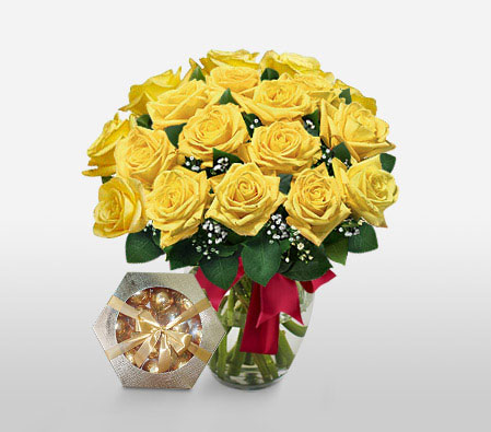 Yellowside - 18 Yellow Roses<br><font color=red>Free Chocolates + Sale $10 </font>