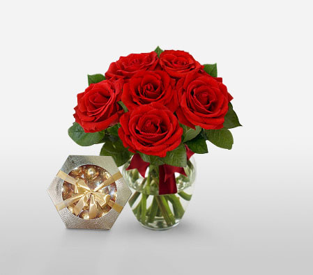 Rage - 6 Red Roses <Br><Font Color=Red>Free Chocolates </Font>