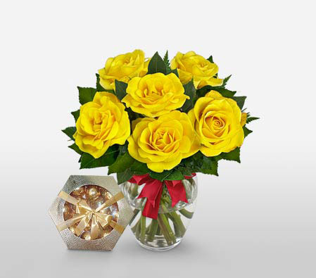 Sunshine- 6 Yellow Roses<br><font color=red>Free Chocolates</font>
