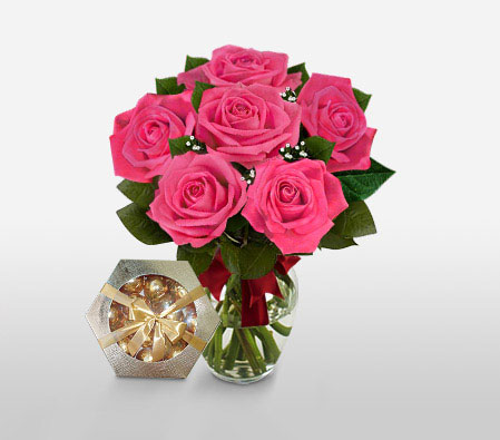 Blushing Secret- 6 Pink Roses Free Chocolates