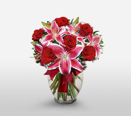 Duet Notes - Stargazer Lilies & Red Roses-Pink,Red,Lily,Rose,Arrangement