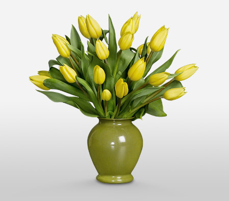 Twist Of Lemon <Br><Font Color=Red>Yellow Tulips in Vase </Font>
