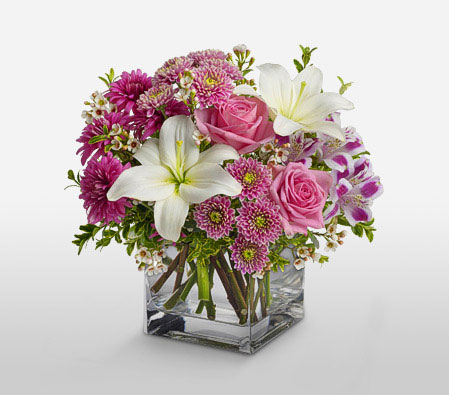 Ritzy Blooms-Pink,White,Alstroemeria,Chrysanthemum,Lily,Mixed Flower,Rose,Arrangement
