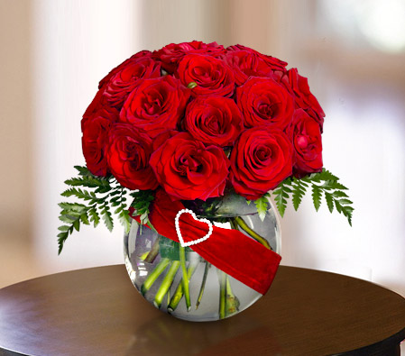 One Dozen Red Roses with Free Vase-Red,Rose,Arrangement