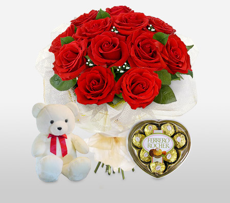 Perfect Surprise-Green,Red,Chocolate,Rose,Teddy,Bouquet