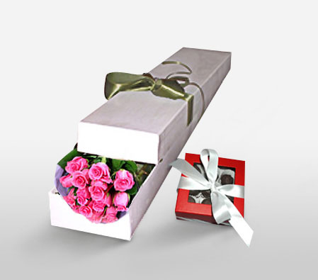 Morning Melody-Pink,Chocolate,Rose,Bouquet,Hamper
