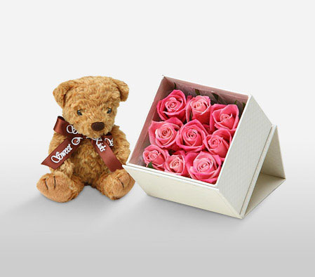 Rose Decolation & Teddy <Br><Font Color=Red>9 Roses & Free Teddy </Font>