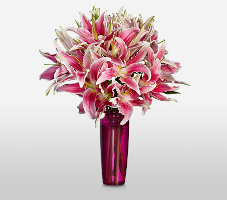 Classic Pink Lilies <Br><Font Color=Red>Complimentary Pink Vase </Font>