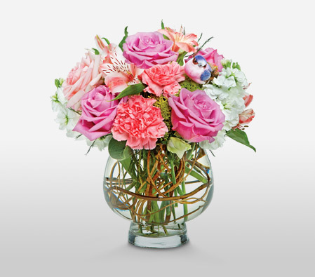 Pink panther mixed pink flowers in vase online flower store pink panther brfont colorredcomplimentary mightylinksfo
