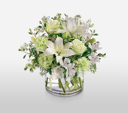 Silver And Green <Br><Font Color=Red>Complimentary Vase </Font>