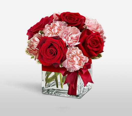MOMentous-Pink,Red,Carnation,Mixed Flower,Rose,Arrangement