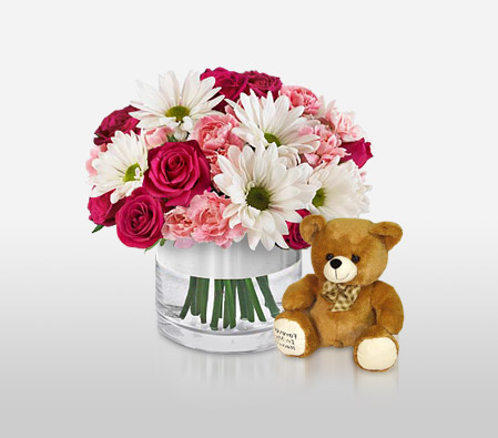 Bliss<Br><span>Pink & White Arrangement - Free Teddy Bear </span>