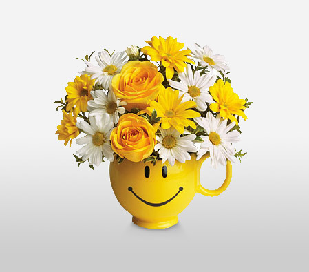 Cheers-White,Yellow,Daisy,Gerbera,Rose,Arrangement