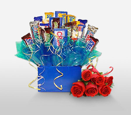 Chocoholic Gourmet Hamper-Red,Chocolate,Gourmet,Rose,Basket,Hamper
