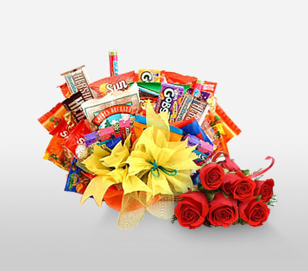Royal Treat-Red,Chocolate,Gourmet,Rose,Basket,Hamper
