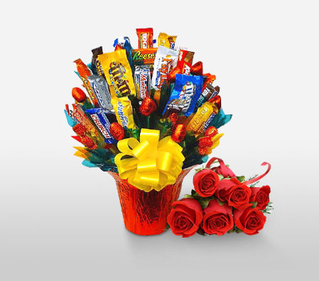 Chocolate Gift Hamper-Red,Chocolate,Gourmet,Rose,Basket,Hamper