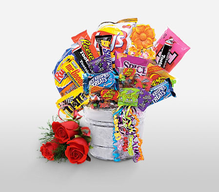Sweet Birthday Hamper-Red,Chocolate,Gourmet,Rose,Basket,Hamper