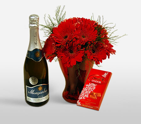 Love Combo-Red,Chocolate,Daisy,Gerbera,Hamper,Champagne