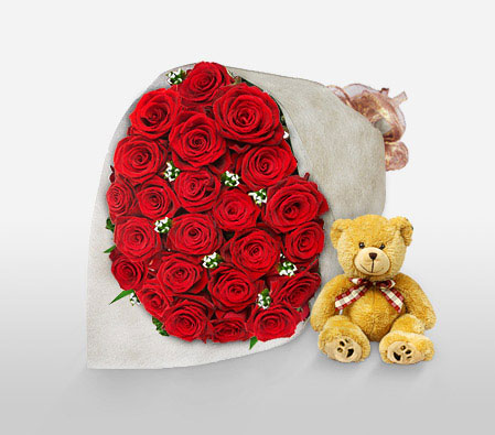 Perfect Love <Br><Font Color=Red>24 Roses & Free Teddy </Font>