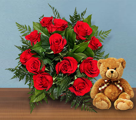 Sparkling Red Roses <Font Color=Red>Sale $20 Off <Br>18 Roses & Free Teddy </Font>