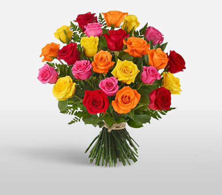 Colourful Love <Br><Font Color=Red>30 Mixed Roses </Font>
