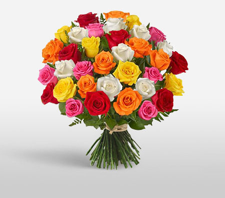 Flashy Flowers <Br><Font Color=Red>40 Mixed Roses </Font>